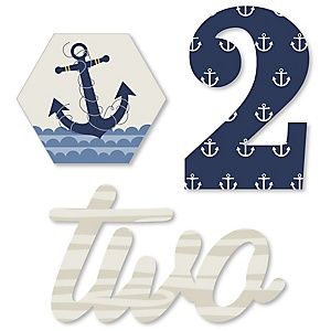 2nd Birthday Ahoy - Nautical - DIY Shaped Second Birthday Party Cut-Outs - 24 ct