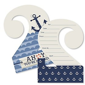 2nd Birthday Ahoy - Nautical - Shaped Fill-In Invitations - Second Birthday Party Invitation Cards with Envelopes - Set of 12