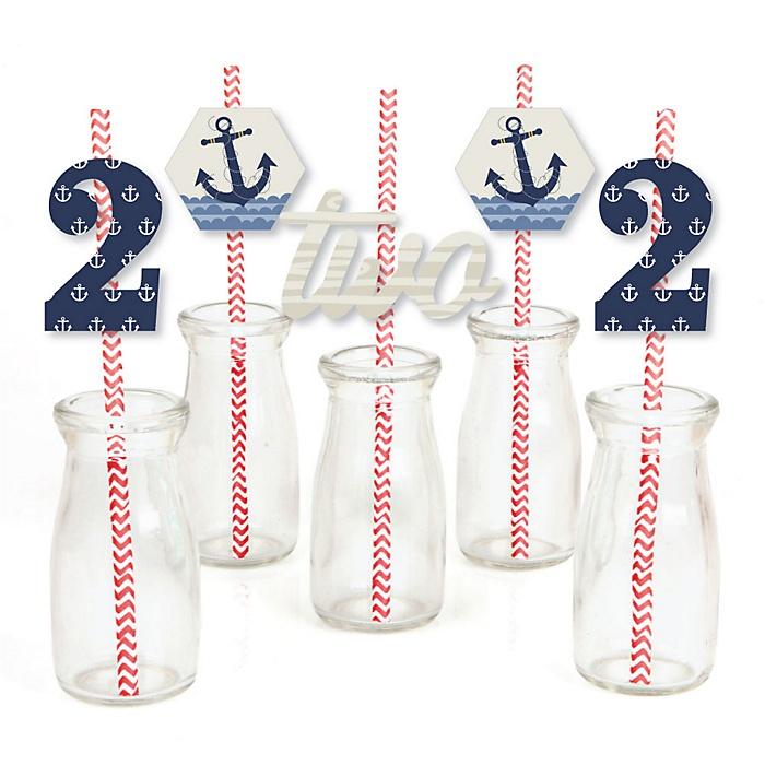 2nd Birthday Ahoy - Nautical - Paper Straw Decor - Second Birthday Party Striped Decorative Straws - Set of 24