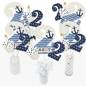 2nd Birthday Ahoy - Nautical - Second Birthday Party Centerpiece Sticks - Table Toppers - Set of 15
