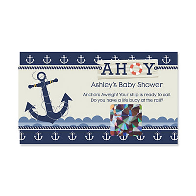 Ahoy   Nautical   Personalized Baby Shower Game Scratch Off Cards   22 Ct |  BigDotOfHappiness.com