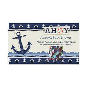 Ahoy - Nautical - Personalized Baby Shower Game Scratch Off Cards - 22 ct