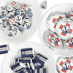 Ahoy - Nautical - Mini Candy Bar Wrappers, Round Candy Stickers and Circle Stickers - Baby Shower or Birthday Party Candy Favor Sticker Kit - 304 Pieces