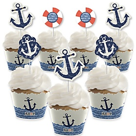 Ahoy - Nautical - Cupcake Decorations - Baby Shower or Birthday Party Cupcake Wrappers and Treat Picks Kit - Set of 24