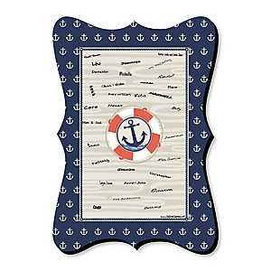 Ahoy - Nautical - Unique Alternative Guest Book - Baby Shower or Birthday Party Signature Mat