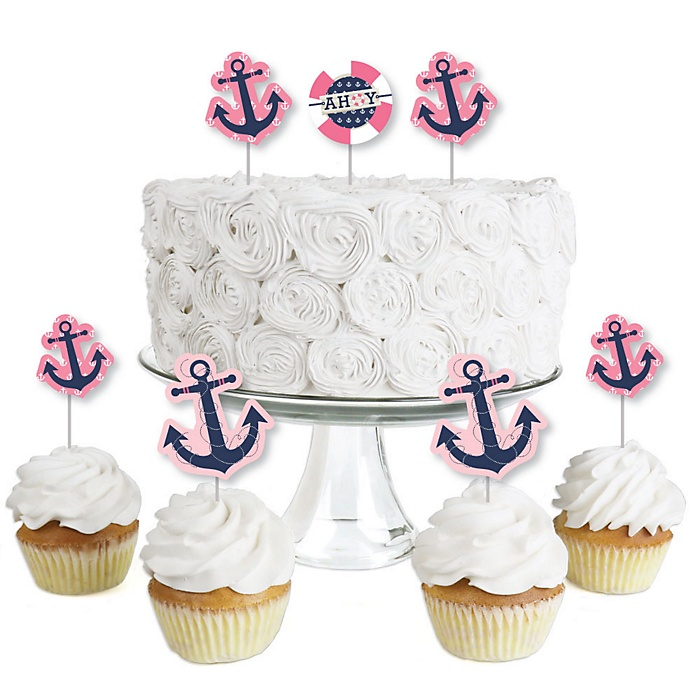 Ahoy - Nautical Girl - Dessert Cupcake Toppers - Baby Shower or Birthday Party Clear Treat Picks - Set of 24