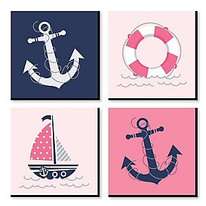 "Ahoy - Nautical Girl - Kids Room, Nursery & Home Decor - 11"" x 11"" Kids Wall Art - Baby Shower Gift Ideas - Set of 4 Prints for Baby's Room"