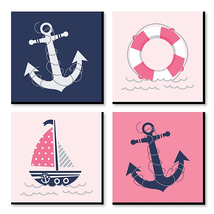 Ahoy - Nautical Girl - Kids Room, Nursery & Home Decor - 11 x 11 inches Kids Wall Art - Baby Shower Gift Ideas - Set of 4 Prints for Baby's Room