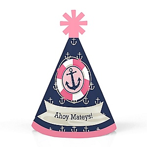 Ahoy - Nautical Girl - Personalized Mini Cone Baby Shower or Birthday Party Hats - Small Little Party Hats - Set of 10