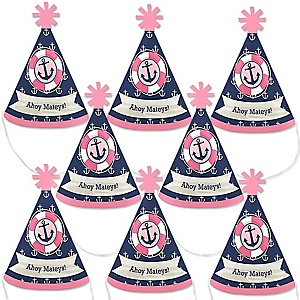 Ahoy - Nautical Girl - Mini Cone Baby Shower or Birthday Party Hats - Small Little Party Hats - Set of 8