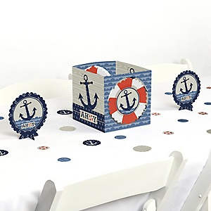 Ahoy - Nautical - Baby Shower or Birthday Party Centerpiece and Table Decoration Kit