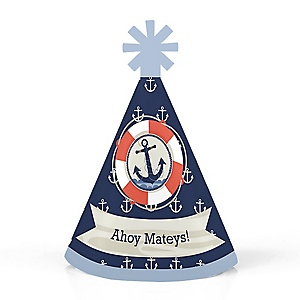 Ahoy - Nautical - Personalized Mini Cone Baby Shower or Birthday Party Hats - Small Little Party Hats - Set of 10