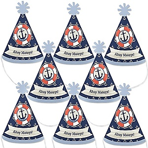 Ahoy - Nautical - Mini Cone Baby Shower or Birthday Party Hats - Small Little Party Hats - Set of 8
