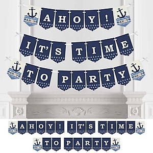 Ahoy - Nautical - Baby Shower or Birthday Party Bunting Banner - Party Decorations - Ahoy! It's Time to Party