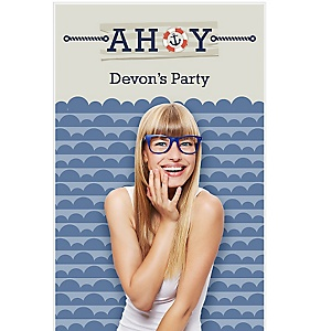 "Ahoy - Nautical - Party Personalized Photo Booth Backdrops - 36"" x 60"""