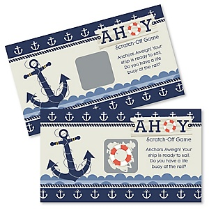 Ahoy - Nautical - Baby Shower Game Scratch Off Cards - 22 ct