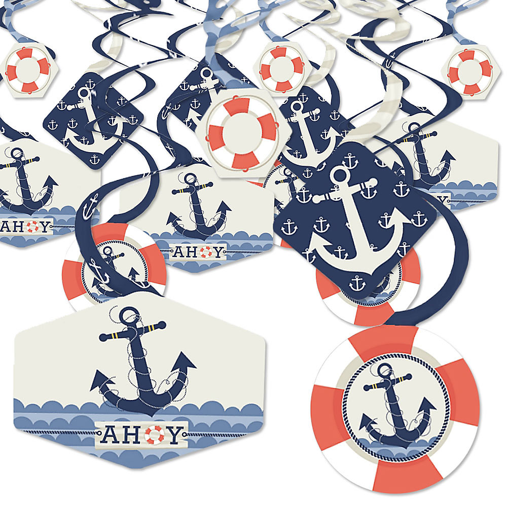 Ahoy Nautical Baby Shower Or Birthday Party Hanging Decor Party Decoration Swirls Set Of 40