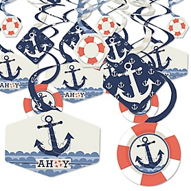 Ahoy - Nautical - Baby Shower or Birthday Party Hanging Decor - Party Decoration Swirls - Set of 40