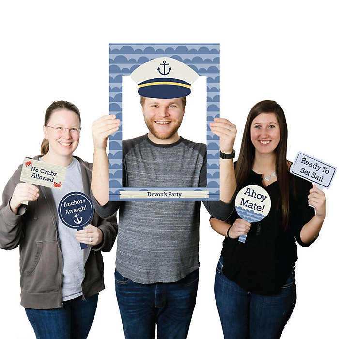 Ahoy - Nautical - Personalized Birthday Party or Baby Shower Selfie Photo Booth Picture Frame & Props - Printed on Sturdy Material