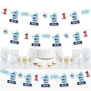 1st Birthday Taking Flight - Airplane - Vintage Plane First Birthday Party DIY Decorations - Clothespin Garland Banner - 44 Pieces