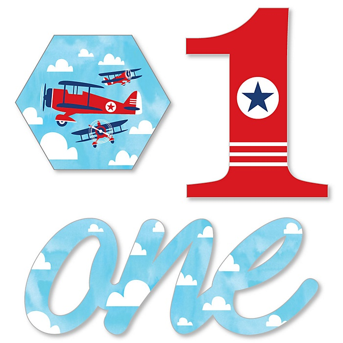 1st Birthday Taking Flight - Airplane - DIY Shaped Vintage Plane First Birthday Party Cut-Outs - 24 ct