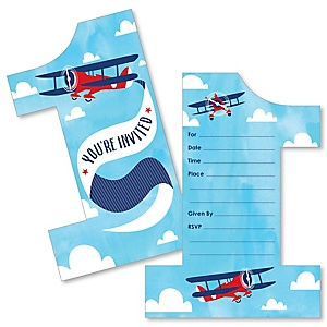 1st Birthday Taking Flight - Airplane - Shaped Fill-In Invitations - Vintage Plane First Birthday Party Invitation Cards with Envelopes - Set of 12