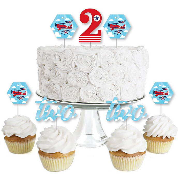 2nd Birthday Taking Flight - Airplane - Dessert Cupcake Toppers - Vintage Plane Second Birthday Party Clear Treat Picks - Set of 24