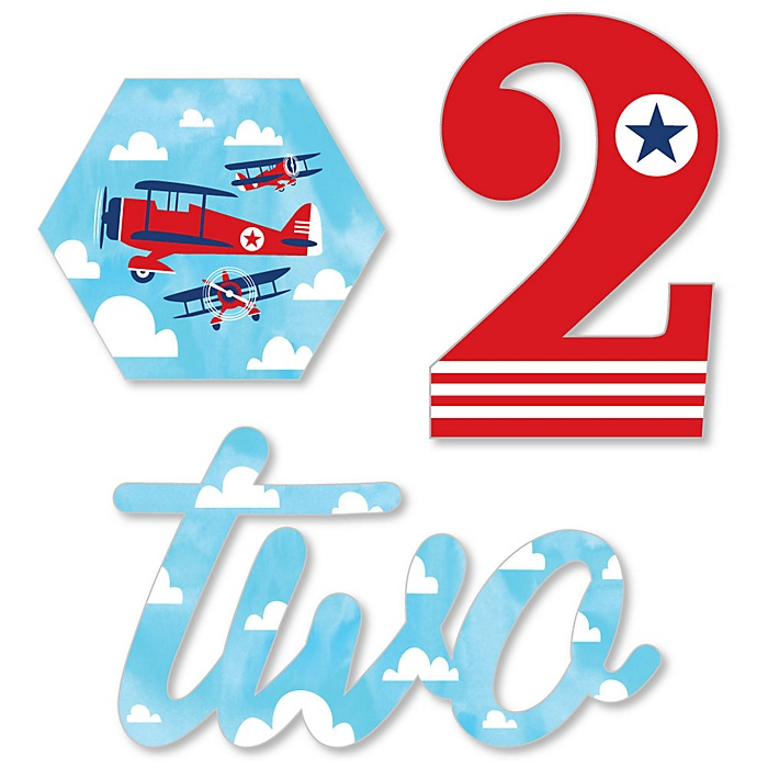 2nd Birthday Taking Flight - Airplane - DIY Shaped Vintage Plane Second Birthday Party Cut-Outs - 24 ct