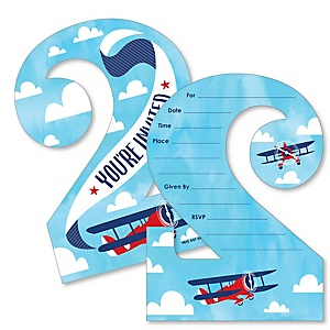 2nd Birthday Taking Flight - Airplane - Shaped Fill-In Invitations - Vintage Plane Second Birthday Party Invitation Cards with Envelopes - Set of 12