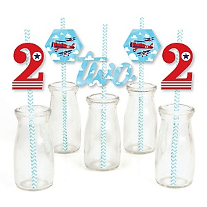 2nd Birthday Taking Flight - Airplane - Paper Straw Decor - Vintage Plane Second Birthday Party Striped Decorative Straws - Set of 24