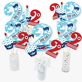 2nd Birthday Taking Flight - Airplane - Vintage Plane Second Birthday Party Centerpiece Sticks - Table Toppers - Set of 15