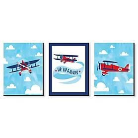 Taking Flight - Airplane - Vintage Plane Baby Boy Nursery Wall Art & Kids Room Decor - 7.5 x 10 inches - Set of 3 Prints