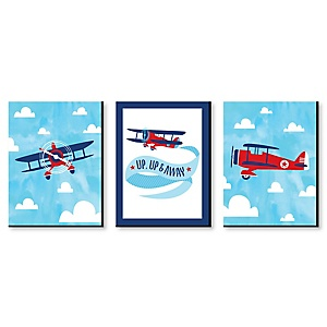 Taking Flight - Airplane - Vintage Plane Baby Boy Nursery Wall Art & Kids Room Decor - 7.5 x 10 inches - Set of 3 Prints