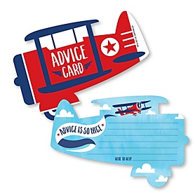 Taking Flight - Airplane - Wish Card Vintage Plane Baby Shower Activities - Shaped Advice Cards Game - Set of 20