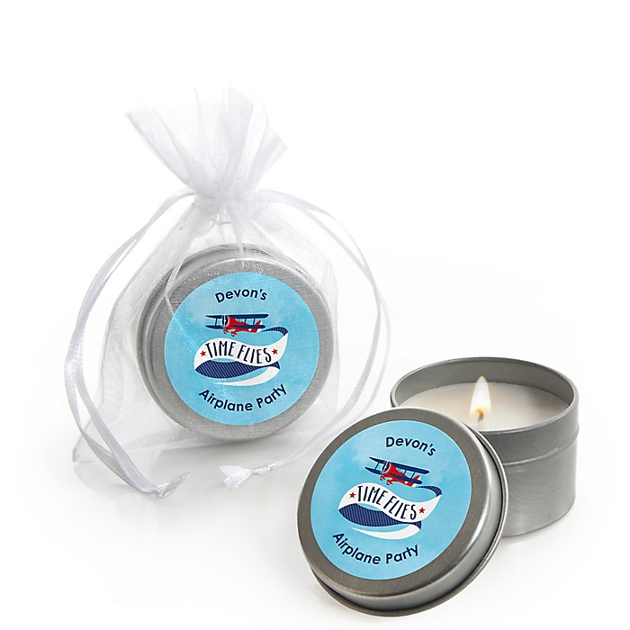 Taking Flight - Airplane - Personalized Vintage Plane Baby Shower Candle Tin Favors - Set of 12