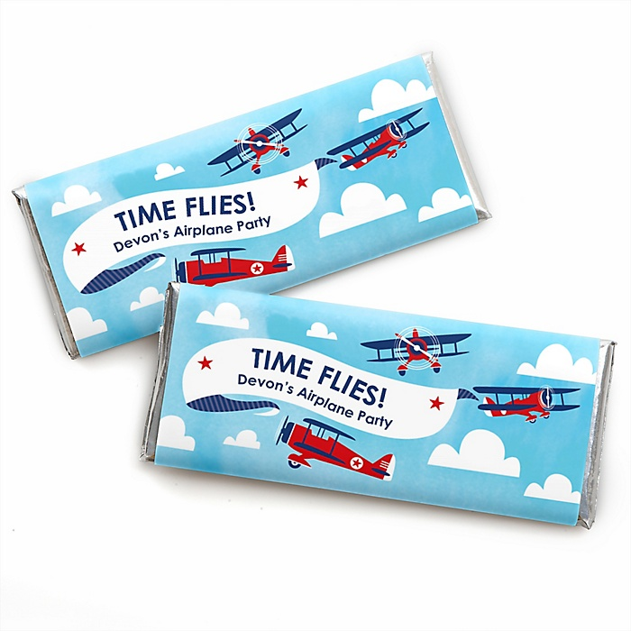 Taking Flight - Airplane - Personalized Candy Bar Wrapper Vintage Plane Baby Shower or Birthday Party Favors - Set of 24