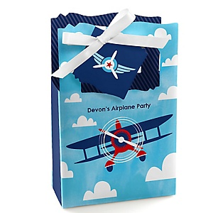 Taking Flight - Airplane - Personalized Vintage Plane Baby Shower or Birthday Party Favor Boxes - Set of 12