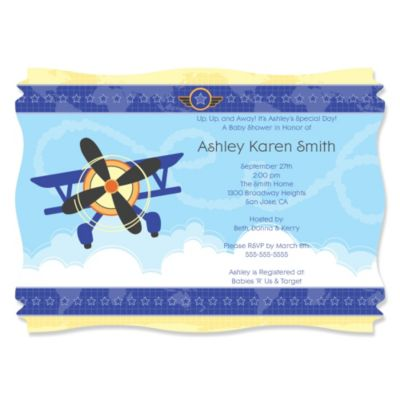 Airplane Personalized Baby Shower Invitations BigDotOfHappinesscom
