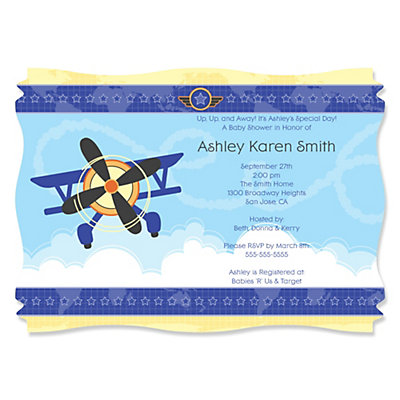 Airplane   Personalized Baby Shower Invitations