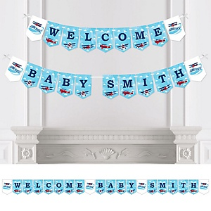 Taking Flight - Airplane - Personalized Vintage Plane Baby Shower Bunting Banner & Decorations