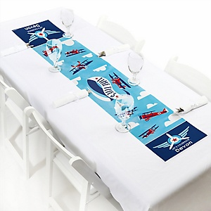 "Taking Flight - Airplane - Personalized Petite Vintage Plane Baby Shower or Birthday Party Paper Table Runner - 12"" x 60"""