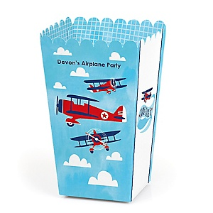 Taking Flight - Airplane - Personalized Vintage Plane Baby Shower or Birthday Party Popcorn Favor Treat Boxes - Set of 12