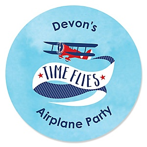 Taking Flight - Airplane - Personalized Vintage Plane Baby Shower or Birthday Party Sticker Labels - 24 ct