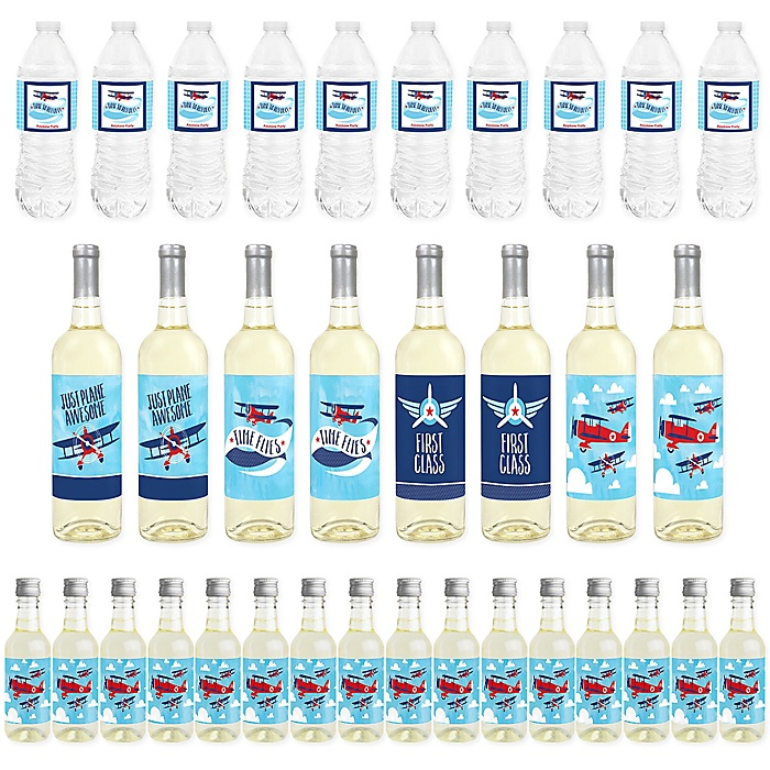 Taking Flight - Airplane - Mini Wine Bottle Labels, Wine Bottle Labels and Water Bottle Labels - Vintage Plane Baby Shower or Birthday Party Decorations - Beverage Bar Kit - 34 Pieces
