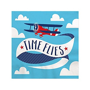 Taking Flight - Airplane - Vintage Plane Baby Shower or Birthday Party Cocktail Beverage Napkins - 16 ct