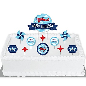 Taking Flight - Airplane - Vintage Plane Birthday Party Cake Decorating Kit - Happy Birthday Cake Topper Set - 11 Pieces