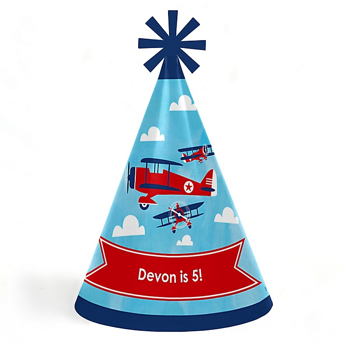 Taking Flight - Airplane - Personalized Cone Happy Birthday Party Hats for Kids and Adults - Set of 8 (Standard Size)