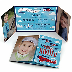 Taking Flight - Airplane - Personalized Vintage Plane Birthday Party Photo Invitations - Set of 12