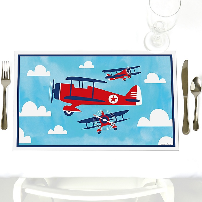 Taking Flight - Airplane - Party Table Decorations - Vintage Plane Party Placemats - Set of 12