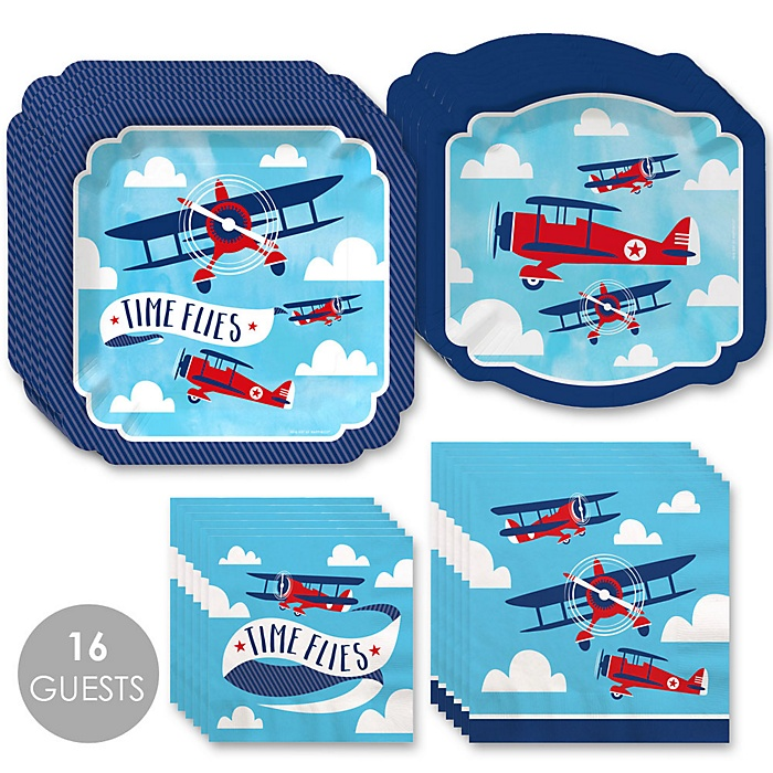 Taking Flight - Airplane - Vintage Plane Baby Shower or Birthday Party Tableware Plates and Napkins - Bundle for 16